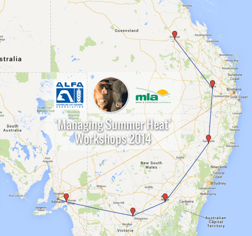 map of Managing Summer Heat workshop locations