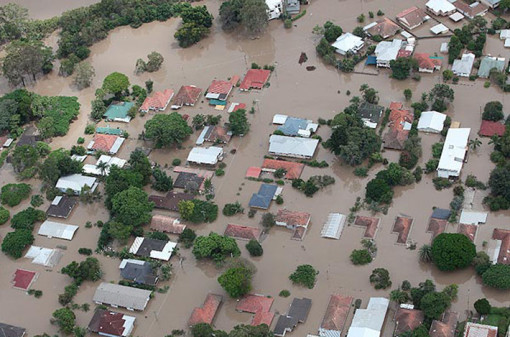 aerial photo of Brisbane flood