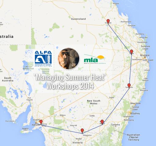 map of Managing Summer Heat workshop locations