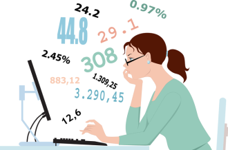 A statistician looking at her computer screen full of numbers
