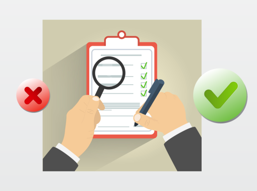 person ticking checkboxes on a report with one hand, magnifying glass in the other